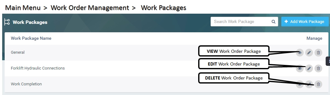 Work Order Packages