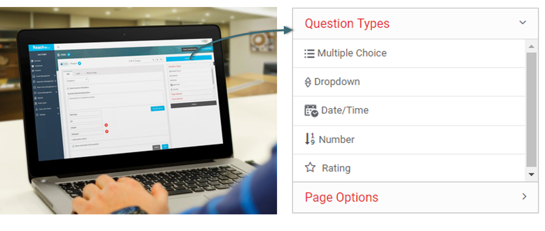 All questions types are available when you build a form